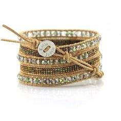 Transparent Green Crystals with Miyuki Glass Seed Beads on Natural Leather Wrap…