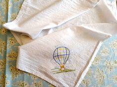 Hot Air Balloon Flour Sack Towel   #CountryGardenStitchery