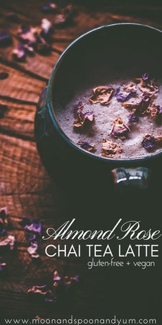 This Vegan Almond Rose Chai Tea Latte sweetened with only maple syrup is genuinely one of the tastiest things I have ever created. It is SO good. The hints of almond, rose, and maple paired with traditional chai spice flavors like cinnamon and cardamom truly makes for one ridiculously delicious, healthy, and comforting beverage! It's a wee bit on the enchanting side and despite the caffeine, it is super soothing and borders on being more of a moon milk (in my humble opinion)! #rosechai Lip Gloss Colors, Nut Milk Bag, Bagged Milk, Tea Latte, Healthy Drinks, Healthy Food, Healthy Recipes, Nutrition Drinks, Eating Healthy