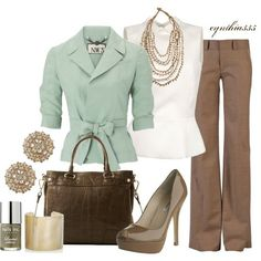 Mint, taupe & white by Kapuleta.... For those work days