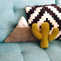 Bring the desert sunshine into your life with this hand knitted cactus pillow…
