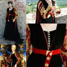 Renaissance Costume, Medieval Costume, Renaissance Fashion, Italian Renaissance, Medieval Clothing, Historical Clothing, Green Silk, Black Silk, I Dress