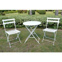 White 3-Piece Folding Metal Bistro Furniture Set : Target