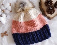 Crochet Patterns For Beginners, Knitting For Beginners, Knitting Patterns, Knit Beanie Pattern, Knit Beanie Hat, Loom Knitting, Baby Knitting, Loom Knit Hat, Knitting Stitches