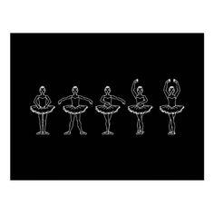 5 positions de ballet cartes postales