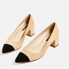 My Bitchy Resting Face: My Pick 'n' Mix of Midi Heeled Pumps & Loafers, Zara- MID-HEEL SHOES WITH CONTRASTING TOE CAP