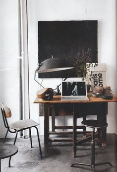 Vintage desk and black lamp.