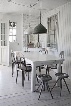 Industrial Style Kitchen Ideas In 2020 Design & Trends) - White Interior, Industrial Dining, Dining Room Decor, Interior Design, Home Decor, House Interior, Industrial Style Kitchen, Dining, Home Deco