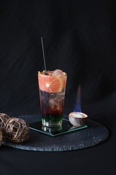 Exotic Shadow, with green apple syrup 1883 & red passion fruit syrup 1883. #Cocktail #Bartender