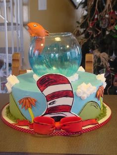 Cat in the hat cake ideas for baby shower. {love the scenery on the bottom. Want to do that for Kalee's cake}