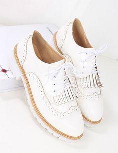 61fc3fda90ee22 Flache Schuhe mit Quaste und Schnürung-weiß 30.98 Oxford Schuhe Damen