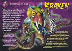 Monsters of the Mind Kraken Monster Hunt, Monster Book Of Monsters, Monster Cards, Sea Monsters, Wild Creatures, All Gods Creatures, Mythological Creatures, Mythical Creatures, Kraken Art