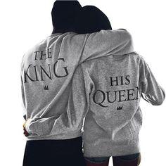Minetom Couple Sweatshirt Femmes Hommes Casual Col Rond Manches Longues  Imprimer Lettre De King Queen Tops