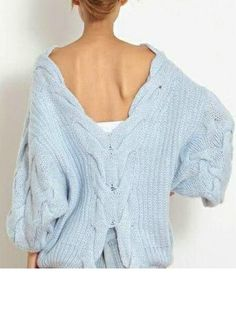 Super Cozy Lite Blue Cable Knit Sweater - Open Back ON SALE TODAY $15.00