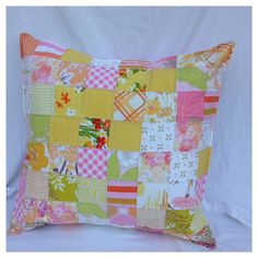 Floral Throw Pillow-Cushion-Eco Friendly-Vintage Bed Linen Patchwork-2