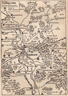 World War I map of Verdun