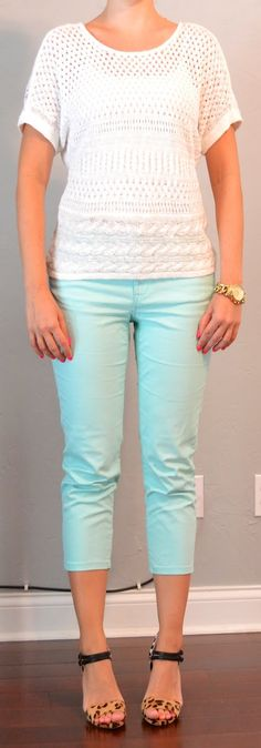 Outfit Posts: outfit post: mint cropped jeans, white crocheted sweater