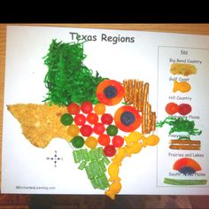 Edible regions of Texas. Great hands-on activity to help students visualize the regions' location and characteristics.