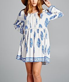 Look what I found on #zulily! White & Blue Floral Fern Dress - Plus #zulilyfinds