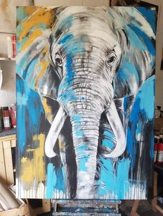 Elephant Decoration, Bull Elephant, Hand Painted Walls, Animal Sketches, Art Mural, Online Painting, Buy Paintings, Acrylic Art, Painting Techniques