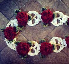 Skulls & Roses Crochet Scarf