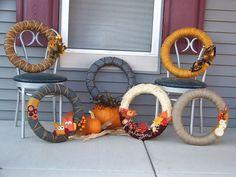 Fall yarn wreaths