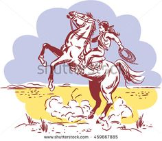 Vintage Wild West line drawing of a Cowgirl riding a Wild Horse at a Rodeo