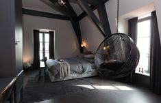 12 Trendy Modern Hanging Chairs Ideas For Your Home Cozy Bedroom, Modern Bedroom, Bedroom Decor, Modern Retro Bedrooms, Stylish Bedroom, Bedroom Ideas, Dream Rooms, Dream Bedroom, My New Room