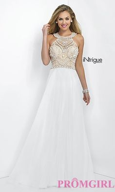 White Prom Dress with Beaded Top Intrigue by Blush at PromGirl.com