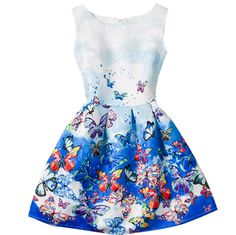 Butterflies in the blue sky world dress 6-12 sizes