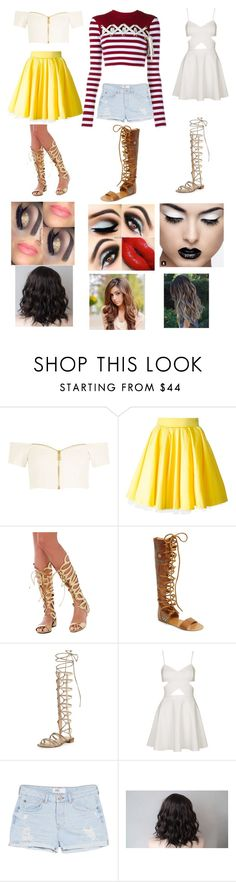 """Group Outfit # 51"" by megalee ❤ liked on Polyvore featuring River Island, Philipp Plein, Free People, Stuart Weitzman, Topshop, MANGO and House of Holland"