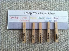 kaper charts | 10 Ideas for a Girl Scout Kaper Chart | MakingFriends.com