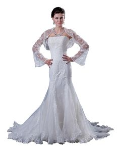 lindadress.com Offers High Quality Ivory Mermaid Beaded Lace Applique Strapless Wedding Dress With Jacket,Priced At Only USD USD $230.00 (Free Shipping)
