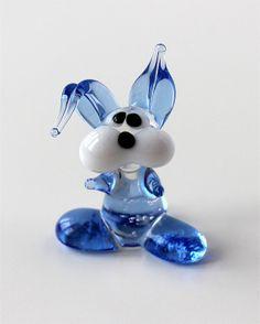 Miniature Hare Figurine, Glass  Sculpture, Art Animal