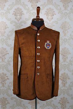 #Brown #italian slim fit magnificent #suit with mandarin collar -ST372