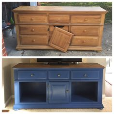 DIY an old dresser into a gorgeous living room TV stand.