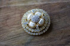 Vintage Collage Brooch, Gold Tones, Pearls, Rhinestone Accent, Quality, Unique, One of a Kind, an Elegant Statement Piece for Day or Evening by DoubleEweBee on Etsy