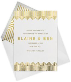 Bargello Tall- Metallics, Jonathan Adler + Paperless Post Good thing my sister has an engagement party coming up! Art Deco Wedding, Wedding Paper, Wedding Cards, Typography Invitation, Invitation Design, Paperless Post, Gold Invitations, Wedding Stationary, Paper Goods