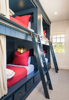 This one's definitely a boys bunk room, but still classic. The addition of ship lap adds a current trend. Love the additional storage below the bunks.
