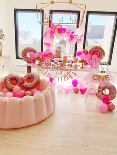 "Kara's Party Ideas Pink ""Donut Grow Up"" Birthday Party 1st Birthday Party For Girls, Donut Birthday Parties, Donut Party, Frozen Birthday, Baby Party, 2nd Birthday, Birthday Ideas, Pink Birthday Decorations, Grown Up Parties"
