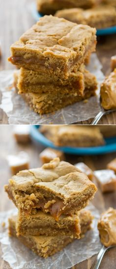 Caramel Peanut Butter Cookie Bars: soft caramel layered between layers of peanut butter cookie bars!