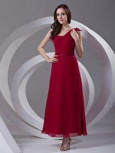 Red Chiffon One Shoulder Ankle Length Pleats A-line Prom Dress on nextdress.co.uk