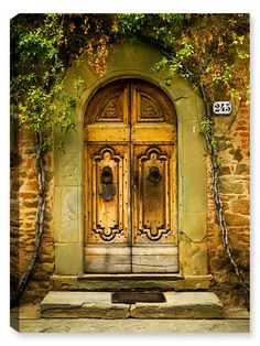 Number 245 - Tuscany - Entry way to beautiful home in Tuscany. This simple entryway personifies the architecture of the Tuscany architecture. Fine art latex ink that is embedded and baked into the can