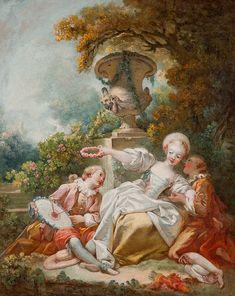 LA COQUETTE FIXÉE, UM 1755 Öl auf Leinwand. 98 x 85 cm. Beigegeben ein Zertifikat von René Millet. Zwei junge Männer umwerben eine junge Dame in einem Park...