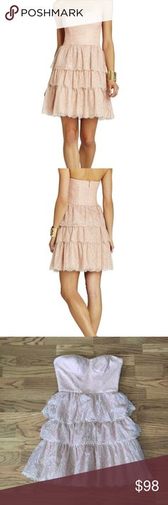 BCBG pink lace tiered ruffle dress Perfect for homecoming, prom, bridal shower, engagement party or any formal event! BCBGMaxAzria Dresses