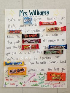 ideas birthday surprise ideas for coworker teacher appreciation Candy Poster Board, Candy Bar Posters, Candy Board, Candy Poems, Candy Quotes, Candy Sayings, Fun Quotes, Teacher Appreciation Week, Teacher Gifts