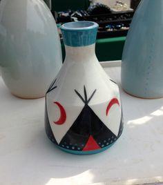 ceramic vase, teepee design, slip painted
