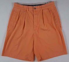 POLO Ralph LAUREN Shorts 30 ORANGE Neon PLEATED Cotton MENS Size SUMMER Short SZ #PoloRalphLauren #CasualShorts