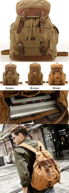 A Perfect camping backpack ! Vintage Outdoor Hiking Canvas Rucksack Laptop Bag…