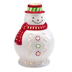 "MR. FROSTY JAR HOLDER  This frosty fellow is all smiles when lit with a jar candle, sold separately. Ceramic holder with lid. 11¾""h 30 cm h, 8¼""w 21 cm w."